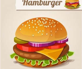 Hamburger fast food vector material 01