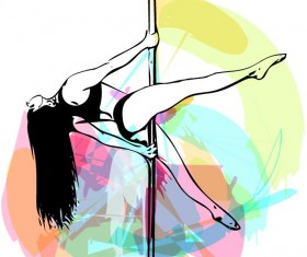 Hand drawn pole dance girl vector material 02
