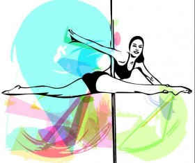 Hand drawn pole dance girl vector material 03