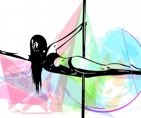 Hand drawn pole dance girl vector material 04