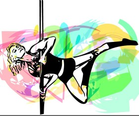 Hand drawn pole dance girl vector material 05