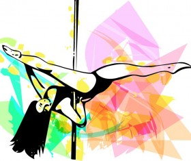 Hand drawn pole dance girl vector material 06