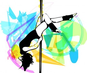 Hand drawn pole dance girl vector material 07