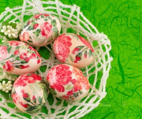 Hand painted Easter eggs in the basket Stock Photo 01
