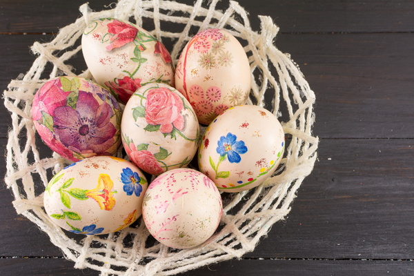 Hand painted Easter eggs in the basket Stock Photo 02