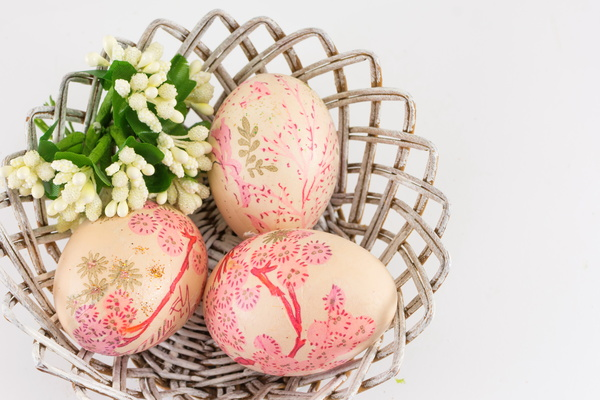 Hand painted Easter eggs in the basket Stock Photo 03