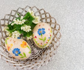 Hand painted Easter eggs in the basket Stock Photo 05
