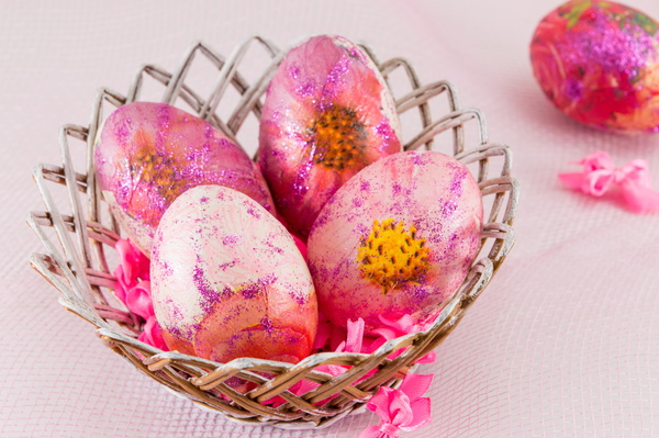 Hand painted Easter eggs in the basket Stock Photo 06