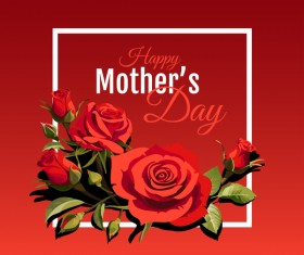 Happy Mothers Day card with red backgorund vector 01