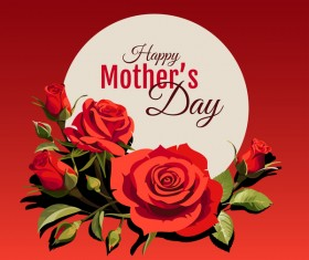 Happy Mothers Day card with red backgorund vector 02
