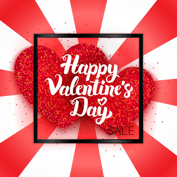 Happy Valentines Day Sale Card Vector Material