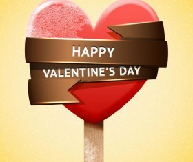 Happy Valentines Day red ice cream vector