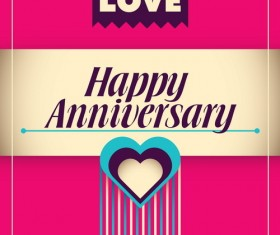 Happy anniversary poster vintage template vector