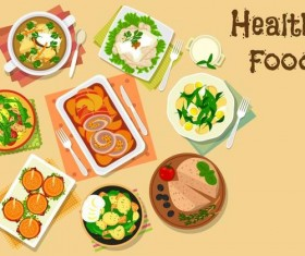 Healthy food flat vector 01