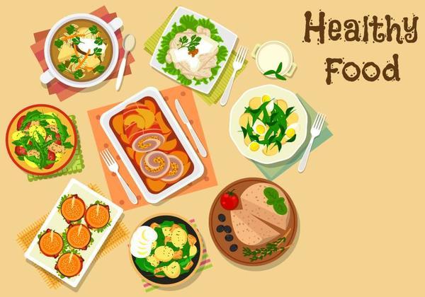 Healthy food flat vector 01