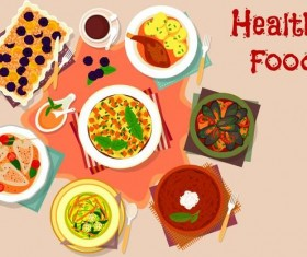 Healthy food flat vector 02