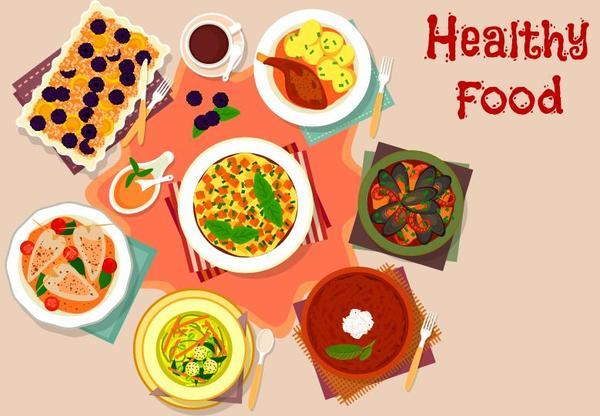 Healthy food flat vector 02