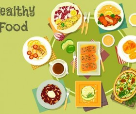 Healthy food flat vector 03