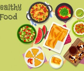 Healthy food flat vector 04