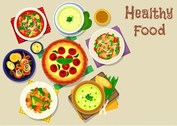 Healthy food flat vector 05