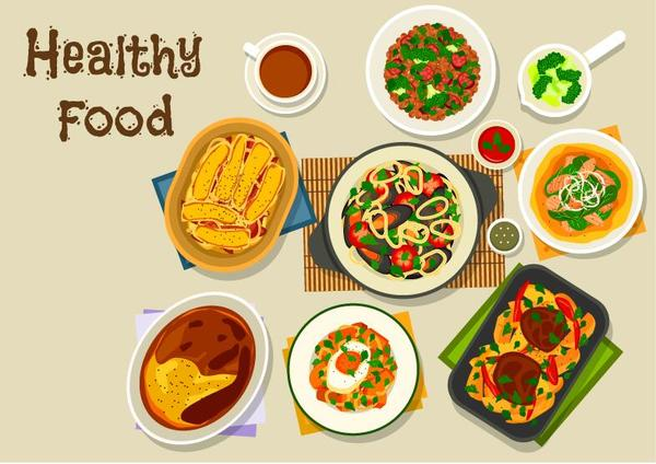 Healthy food flat vector 06