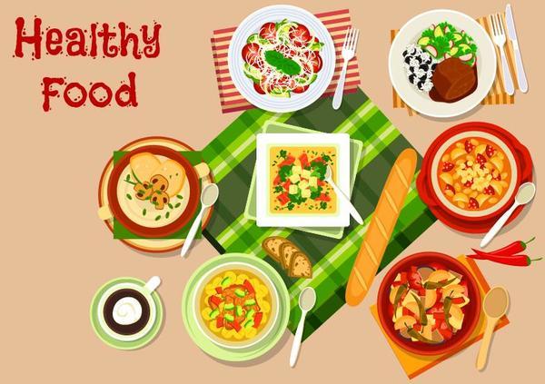 Healthy food flat vector 07