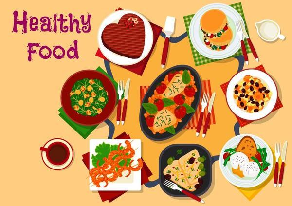 Healthy food flat vector 08