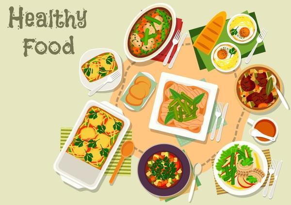 Healthy food flat vector 09