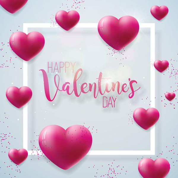 Heart balloon with valentine frame vector free download