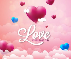 Heart shape balloon with valentine background and cloud vector