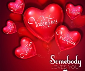 Heart shape balloon with valentine background vector