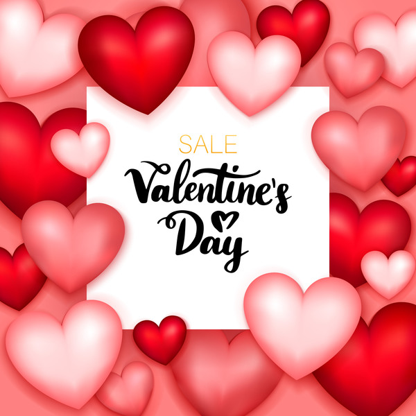 Heart shape frame with valentine sale background vector