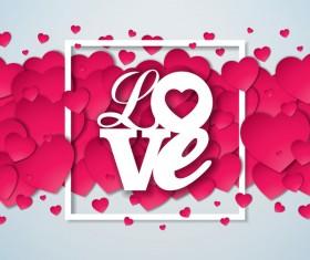 Heart shape paper cut background vector