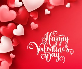 Heart shape valentine card with red background vector 03