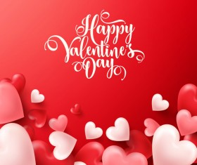 Heart shape valentine card with red background vector 04