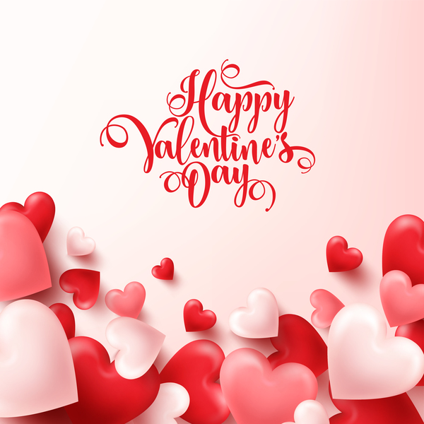 Heart shape valentine card with white background vector 01