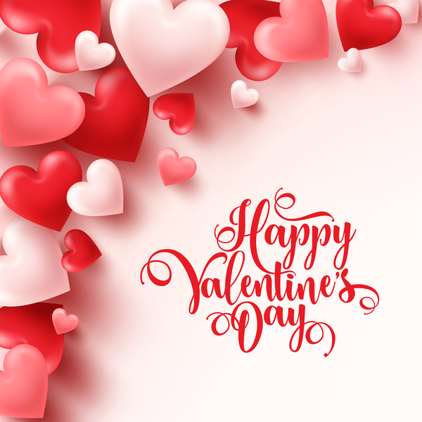 Heart shape valentine card with white background vector 02
