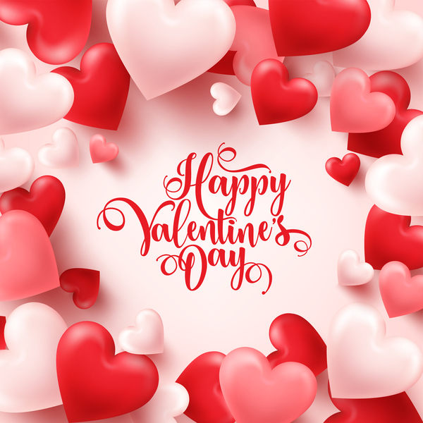 Heart Shape Valentine Card With White Background Vector 03 Free Download