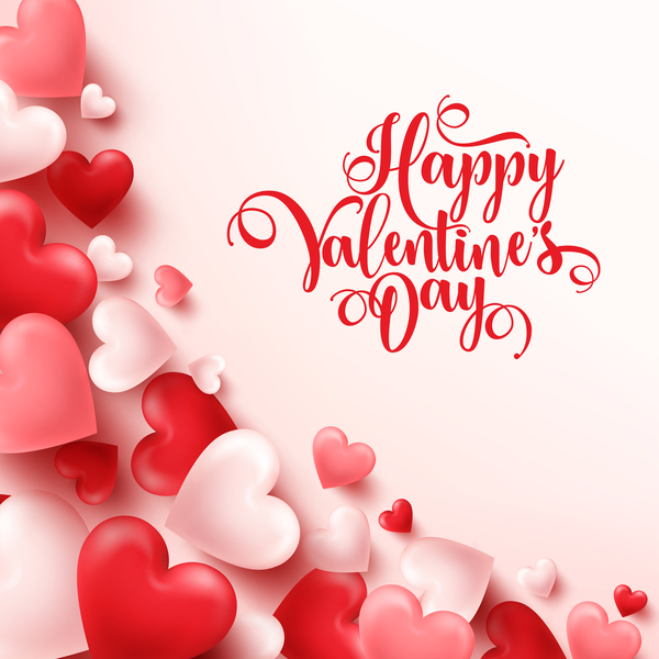 Heart shape valentine card with white background vector 04