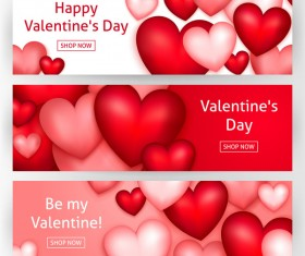 Heart shape valentine day banners vectors