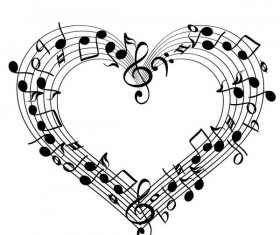 Heart shape with musical symbols vector
