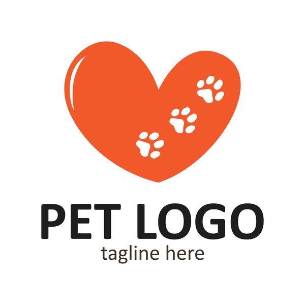Heart shape with pet logo vector 01