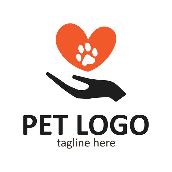 Heart shape with pet logo vector 02