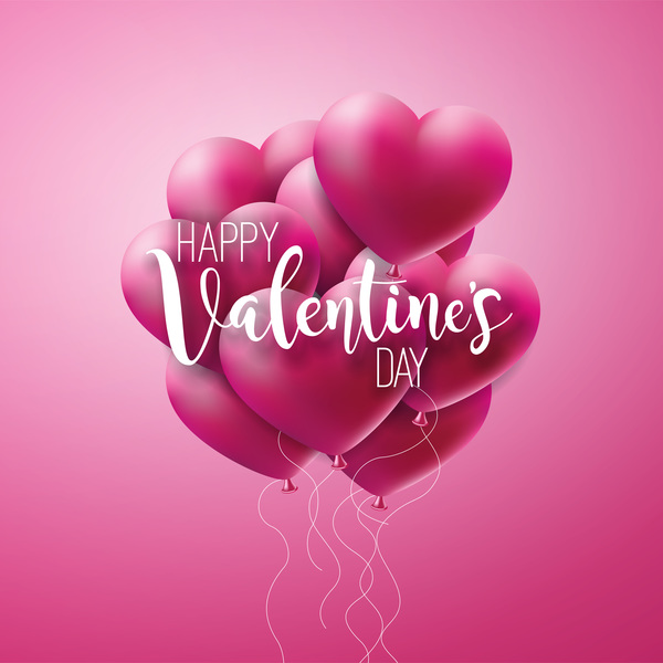 Heart shape with pink valentine background vector