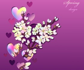 Heart with spring flower vector