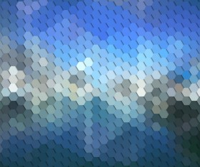 Hexagon pattern with blurs background vector set 03