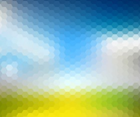 Hexagon pattern with blurs background vector set 04