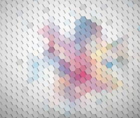 Hexagon pattern with blurs background vector set 06