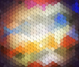 Hexagon pattern with blurs background vector set 07
