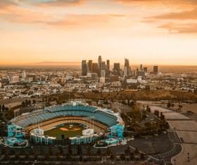 High-angle shooting baseball stadium Stock Photo